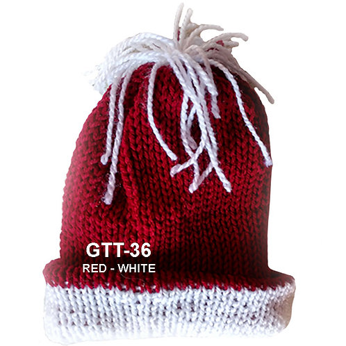 CRIMSON RED COLOR - Hand Knitted Beanie Hat for Men and Women