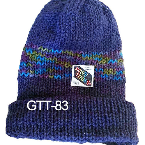 Reversible, Blue, Multi colors - Hand Made Beanie #83