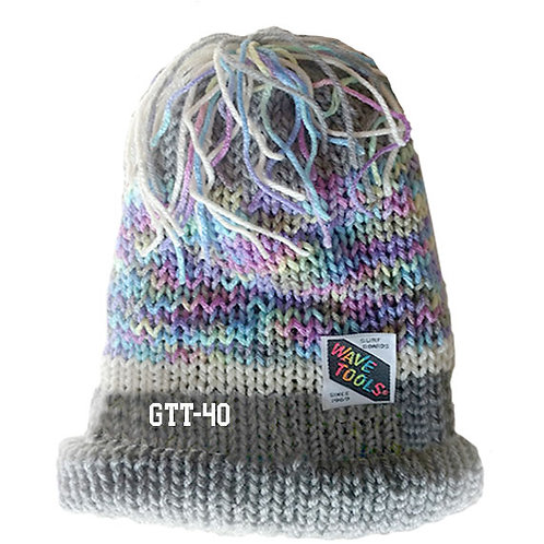 GRAY RAINBOW COLOR - Hand Knitted Beanie Hat for Men and Women #40