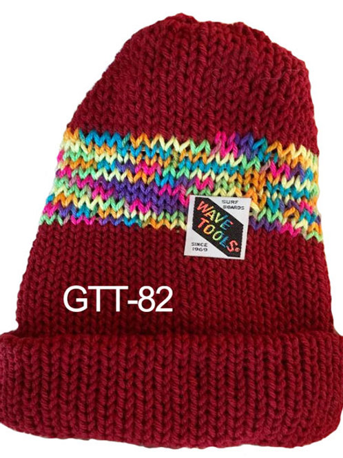 Reversible, Deep Red, Multi colors - Hand Made Beanie #82