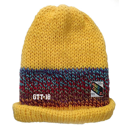 Yellow, blues, reds, Hand Knitted Beanie Hat for Men and Woman #18