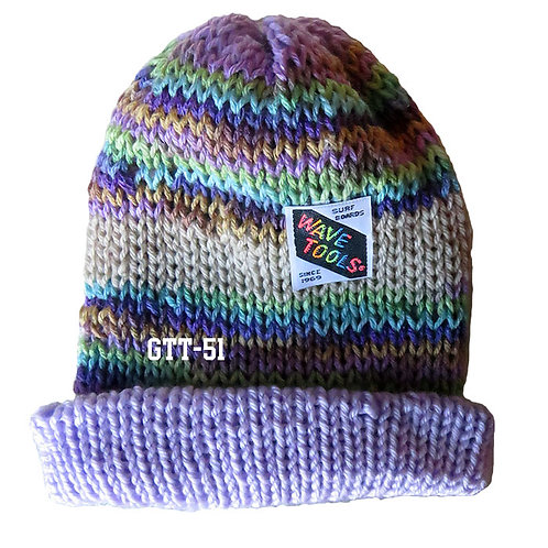 Lavenders, rainbow colors - Hand Knitted Beanie #51