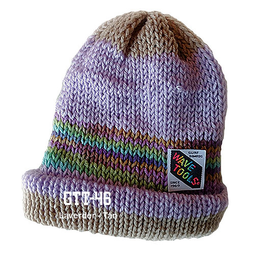 TAN - LAVENDER - Hand Knitted Beanie Hat for Men and Women
