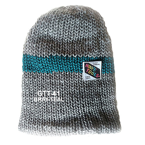 GRAY - TEAL BLUE STRIPE COLOR - Hand Knitted Beanie Hat for Men and Women #41