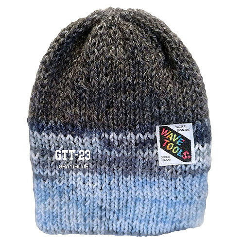 GRAY/BLUE COLOR - Hand Knitted Beanie Hat for Men and Woman #23