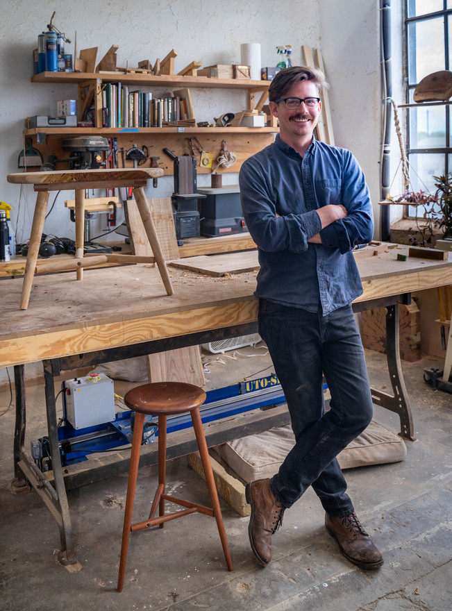 Furniture maker Greg Fuguet in his studio. (Grid Magazine – July 2020)