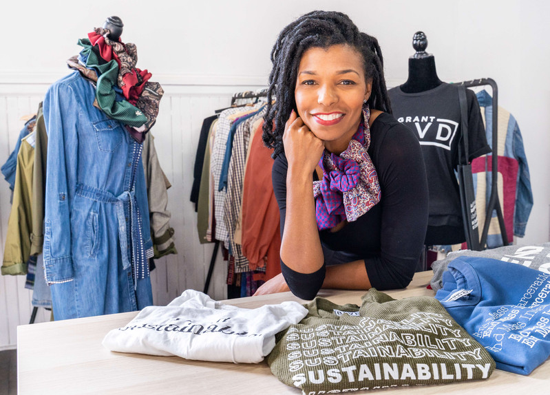 Kimberly McGlonn is the founder of Grant Blvd. The slow-fashion company is based in Grays Ferry, Philadelphia. (Grid Magazine – January 2020)