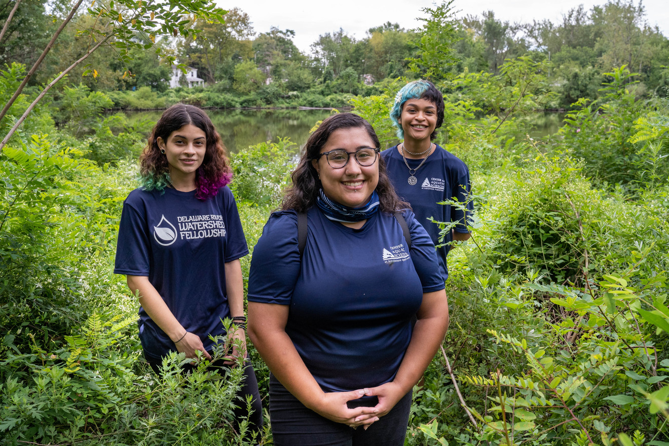 The Cramer Hill Reserve has become an urban oasis in Camden, NJ. Tour guides (L-R) Priscilla Rios, Ivana Quinones  and Adriana Amador-Chacon.