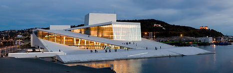 Panoramic view of the Opera House in Oslo from the Northwest. Photo by Rafał Konieczny.