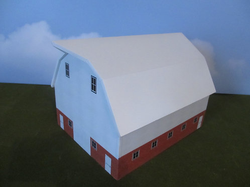 1/64 Scale  White Hip Roof Barn