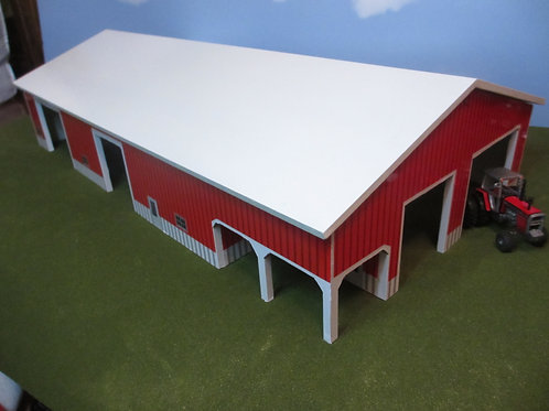 1/64 60' x 120' red and white building with porch.