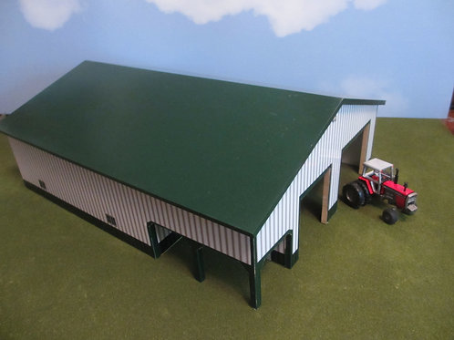 1/64 scale 60 X 80 green and white building with porch.