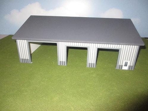 1/64 Scale 60'X80'  Grey and Dark Grey Three Door building
