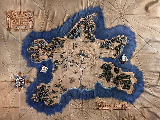 Lord of the Rings - Map of Numenor Giclée Reproduction