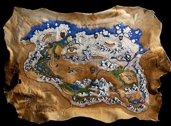 Leather Map of Skyrim - ORIGINAL