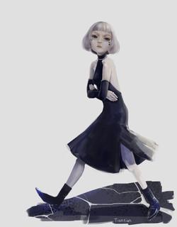 girl walking upset
