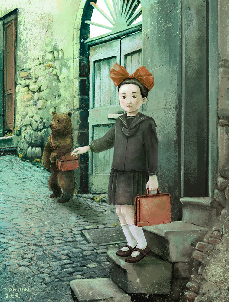 bear and girl