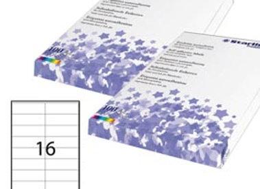 Etichetta adesiva - permanente - 105x36 mm - 16 etichette per foglio - bianco -