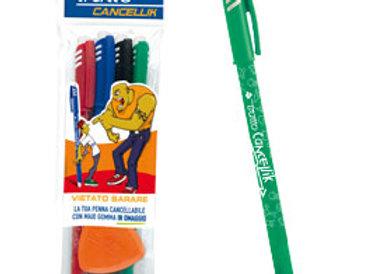 Blister 4 penna sfera cancellabile cancellik 1,0mm col.assortiti tratto