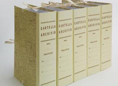 Faldone - legacci incollati  Dorso 4 cm - juta - 35x25 cm - paglia - brefiocart