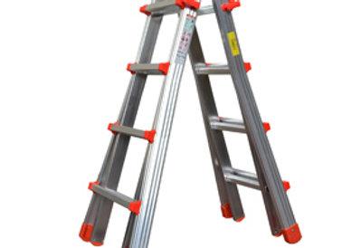 Scala telescopica alluminio 8+8 gradini squadra