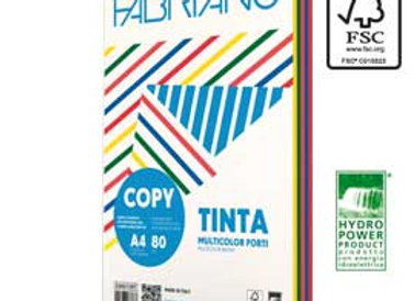 Carta copy tinta multicolor a4 80gr 250fg mix 5 colori tenui fabriano