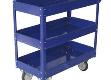 Carrello c/ruote in acciaio verniciato blu 3 ripiani 84x41cm h 82cm