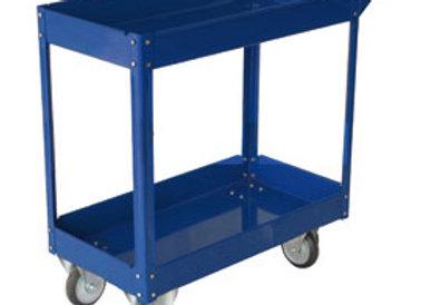 Carrello c/ruote in acciaio verniciato blu 2 ripiani 84x41cm h 82cm
