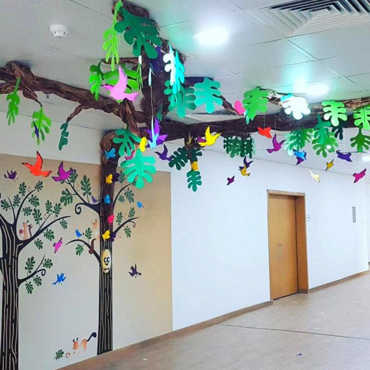 school corridor tree