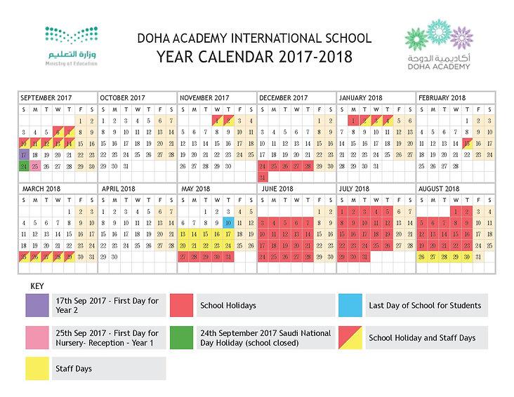 Doha Academy School Calendar