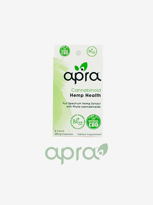 Apra Cannabinoid Hemp Health Capsules 6 Count, 25mg: