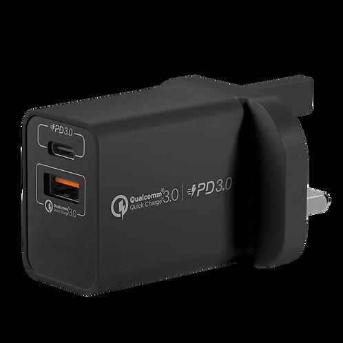 [升級20W] One Plug 雙輸出 USB 快速充電器 (USB-C PD 3.0 + QC 3.0)