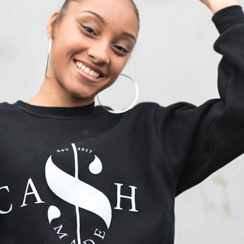 Cash Made Unisex Crew Sweater - Black/White