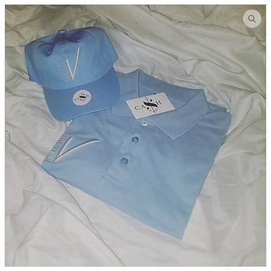 Cut the Check Polo - Baby Blue/White