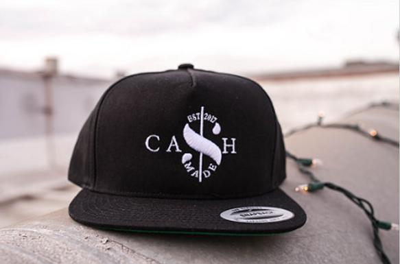 Cash Made Snapback Flat Bill - Black/White