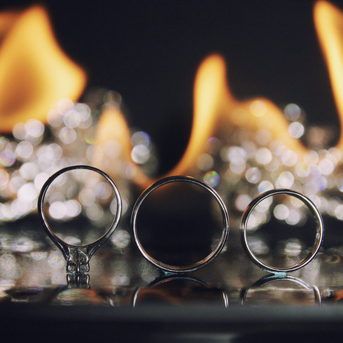 Wedding Ring on flames