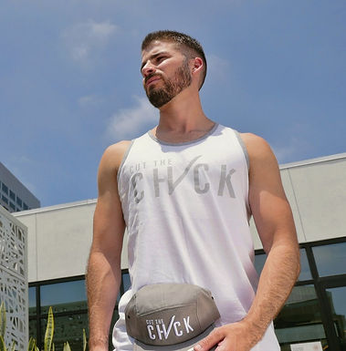 Cut The Check Men's Tank - White/Grey