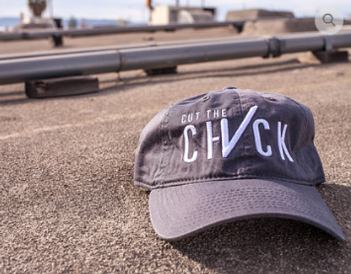 Cut The Check Dad's Hat - Charcoal Grey/White