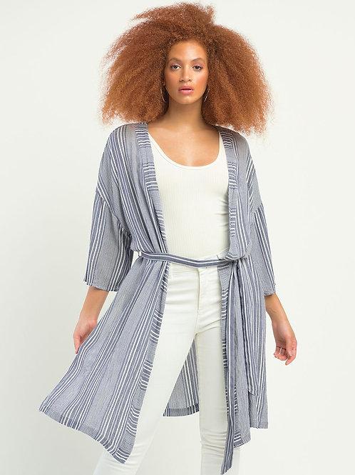 DEX Textured Stripe Belted Kimono