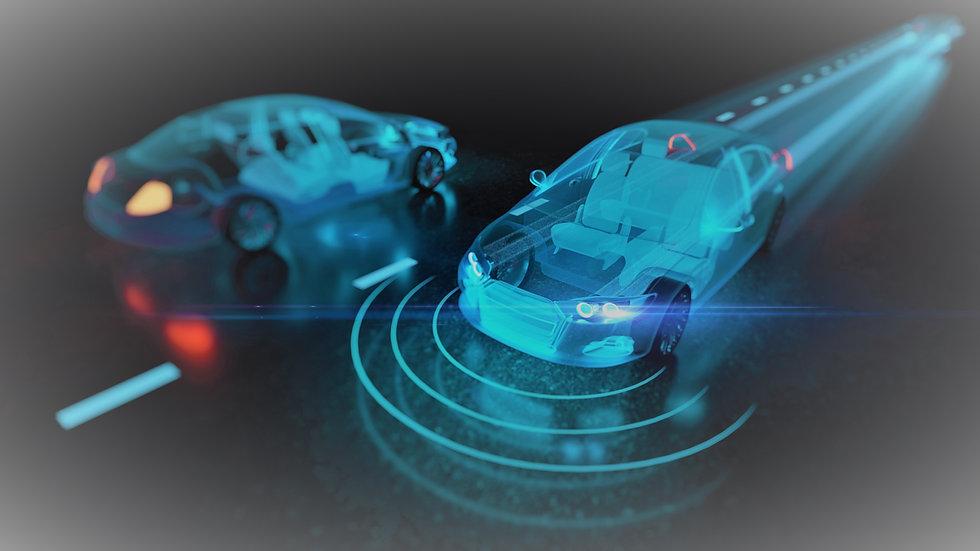Futuristic auto in blue iStock-962731544