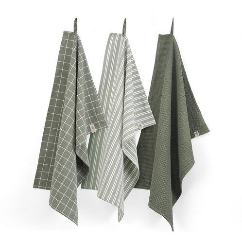 Keukendoek Dry with Cubes Uni, Stripes & Blocks Legergroen   Set van 3