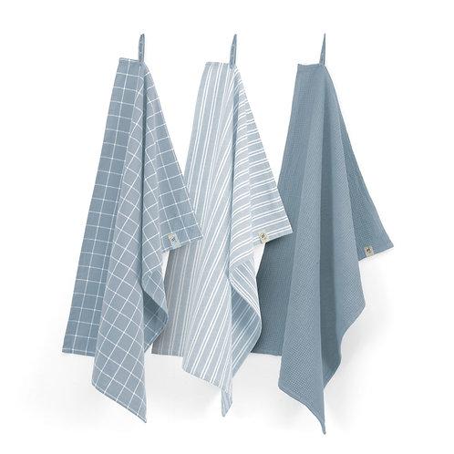 Keukendoek Dry with Cubes Uni, Stripes & Blocks Jeans Blauw | Set v