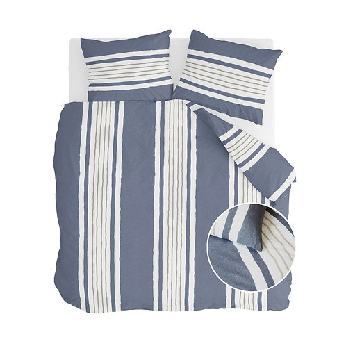 Dekbedovertrek Remade Painted Stripes Jeans Blauw