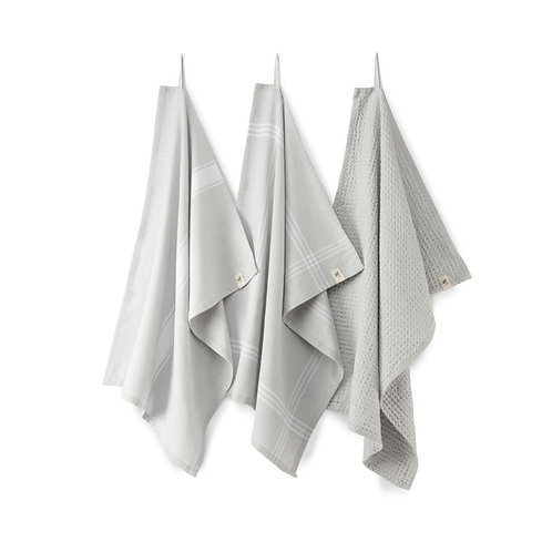 Keukendoek Blocks & Lines Licht grijs   | Set van 3