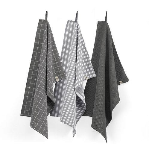 Keukendoek Dry with Cubes Uni, Stripes & Blocks Off Black | Set van 3