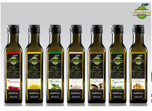 Olio aromatizzato in bottiglia da 250 ml in vari gusti