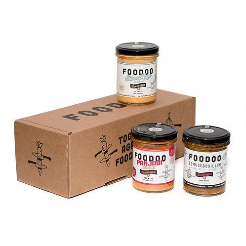 FOODOO Geschenkset (1x Sauce, 1x Bouillon,  1x SuperMayo)