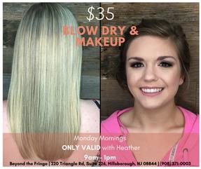 $35 Blow Dry & Makeup