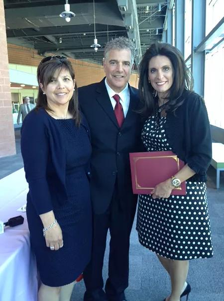 Left to right: Maria Mudrick, Fund Development for Julia's Butterfly Foundation; Christine Callahan, president; Steve Adubato, NJTV.