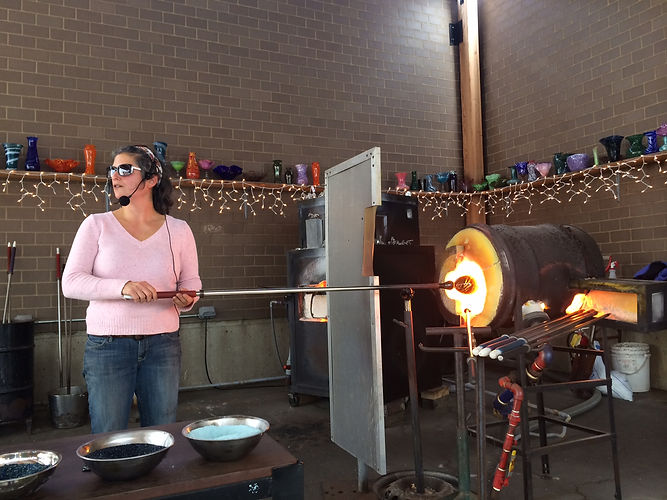 Demonstrating glass blowing at Franklin Park Conservatory